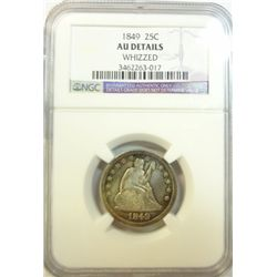 1849 Seated Liberty  quarter   NGC AU whizzed that is  highly buffed