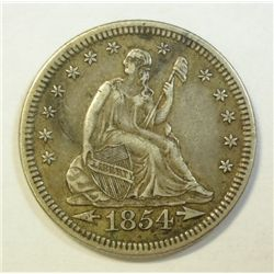 1854  Seated  quarter XF45  all natural look