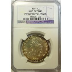 1830  Bust half $  NGC  UNC cleaned  BU GS bid = $825