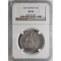 1839 Seated drapery half $  NGC 58  60 GS bid= $550