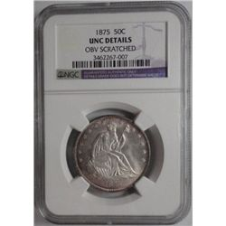 1875  Seated  half $  NGC UNC obv scr---60  GS = $340