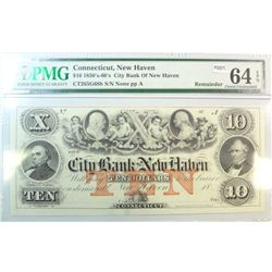 1850's - 1860's  $10 note City Bank of New Haven CT