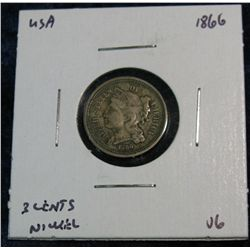 31. 1866 US 3-Cent Nickel. VG