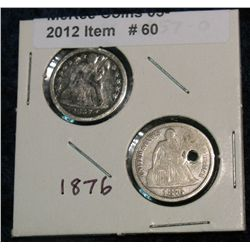 60. 1857 O (scratched & cleaned) & 1876 P (holed) Seated Liberty Dimes.
