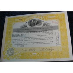 "63. 33,000 Share Stock Certificate ""Yellow Gold of Cripple Creek, Inc."""