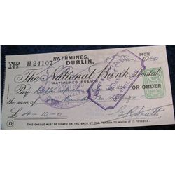 "65. 1940 Check ""The National Bank, Limited"" Rathmine, Dublin."