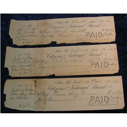 "74. (2) ""Citizens National Bank Alton, Ill."" 1902 Era Cancelled Checks."