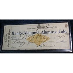 "76. 1899 ""Bank of Alamosa, Alamosa, Colo."" Liquors and Cigars Check"