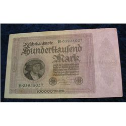 78. 1923 Germany 100,000 Mark Banknote.