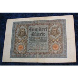 80. 1920 Germany 100 Mark Banknote.