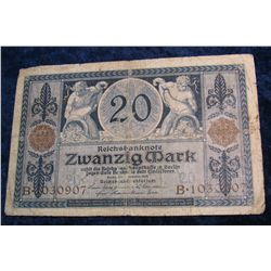 81. 1915 Germany 20 Mark Banknote.