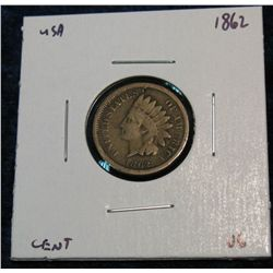 896. 1862 Indian Head Cent. VG.