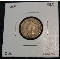897. 1863 Indian Head Cent. F Cleaned.