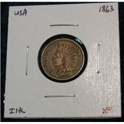 899. 1863 Indian Head Cent. EF.