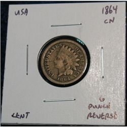 900. 1864 CN Indian Head Cent. G Hole Started on Rev.