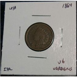 903. 1864 Br. Indian Head Cent. VG.  Light Corrosion.