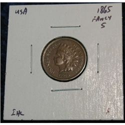907. 1865 Indian Head Cent. F.