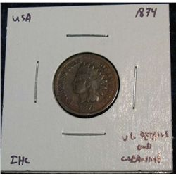 913. 1874 Indian Head Cent. VG Old Cleaning.