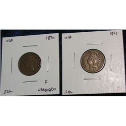 923. 1890, 1891 Indian Head Cents. F.