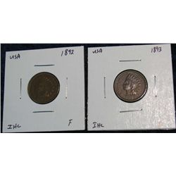 924. 1892, 1893 Indian Head Cents. F.