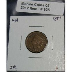 925. 1894 Indian Head Cent. F.
