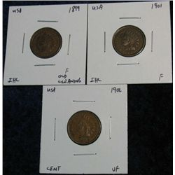 927. 1899, 01 & 02 Indian Head Cents. F-VF.