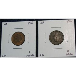 930. 1905 F Cleaned & 1905 EF Indian Head Cents.