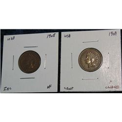 933. 1908 VF & 1909 F Indian Head Cents.