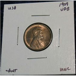 935. 1909 V.D.B. Lincoln Cent. Red Unc.
