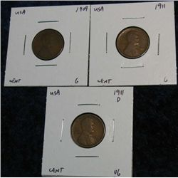 936. 1909, 11 & 11D Lincoln Cents. G, VG.