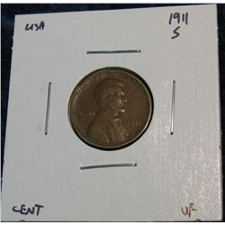 937. 1911S Lincoln Cent. VF.