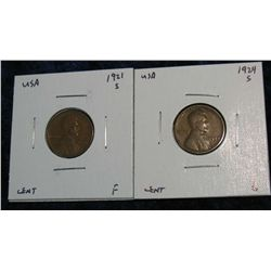 941. 1921S F & 1924S G. Lincoln Cents.