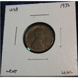 943. 1932 Lincoln Cent. Brown Unc.