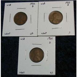 944. 1932D, 33D & 34D Lincoln Cents. F-EF.