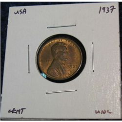 946. 1937 Lincoln Cent. Red & Brown Unc.