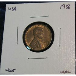 947. 1938 Lincoln Cent. Red & Brown Unc.