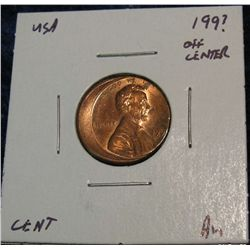 952. Partial Date 15% off Center Struck Lincoln Cent. BU.