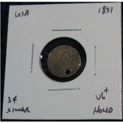 961. 1851 3-Cent Silver. VG Holed.