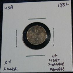 963. 1852 3-Cent Silver . VF Surface Damage.