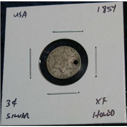 964. 1854 3-Cent Silver . EF Holed.