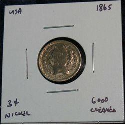 965. 1865 3-Cent Nickel. G Cleaned.