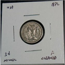 971. 1872 3-Cent Nickel.  F Cleaned.
