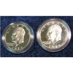 1234. 1973S & 1974S Eisenhower Dollars. Clad Proof.