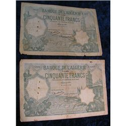 1242. Algeria Series 1933 & 1936 50-Francs Notes Pick #80 VG-F.