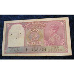 1245. Series 1937 India 2-Rupees Note. F. Pick# 17a.