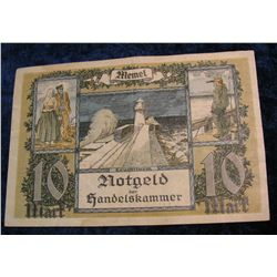 1247. Series 1922 Memel Notgeld 10-Mark Note VF. Catalog $80.00