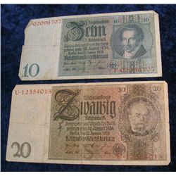 1249. Series 1945 German 10 & 20-Mark Notes. VG. Catalog $27.00
