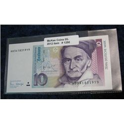 1250. Series 1989 Germany 10-Mark Note. Nice Unc. Cataloge $20.00.
