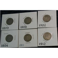 1257. 1899, 00, 02, 04, 11 &12 Liberty Nickels, G-VG.