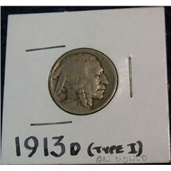 1258. 1913D Type-1 Buffalo Nickel. G.